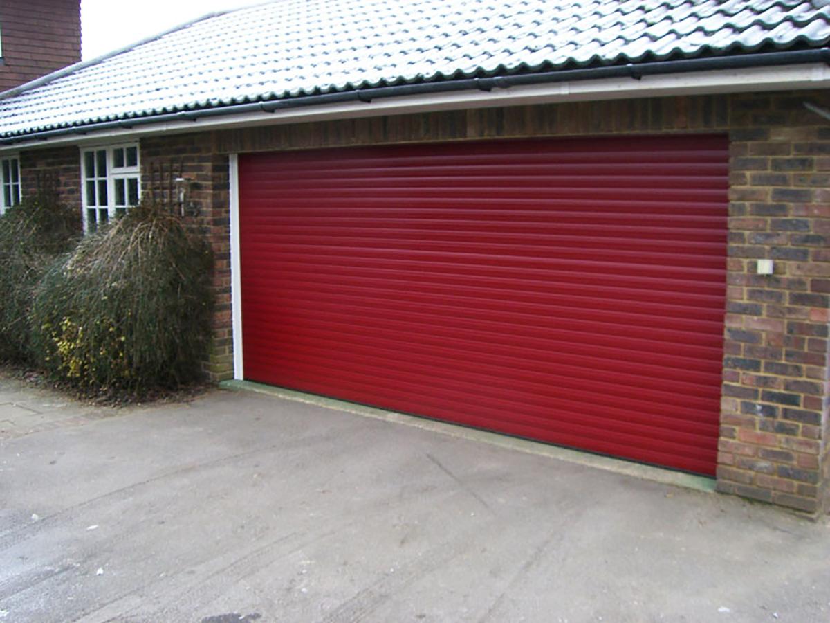 Double-width-red-garage-doors